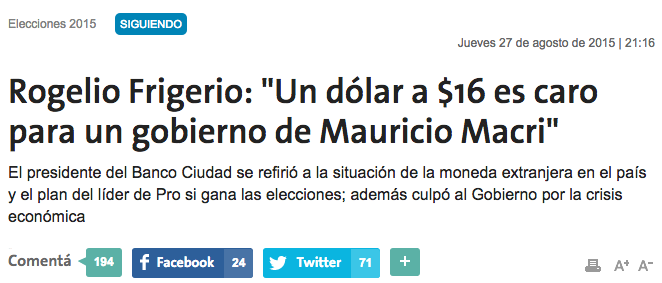"""Frigerio: """"Este es el gobierno que más ha devaluado en el mundo"""""""