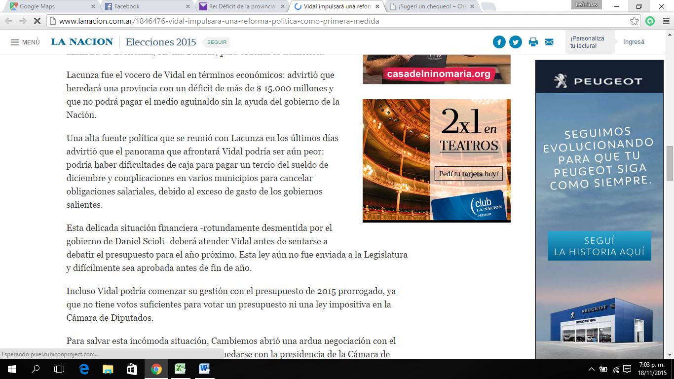 """La Nación: """"Vidal heredará una provincia con un déficit de más de $ 15.000 millones y que no podrá pagar el medio aguinaldo sin la ayuda del gobierno de la Nación"""""""