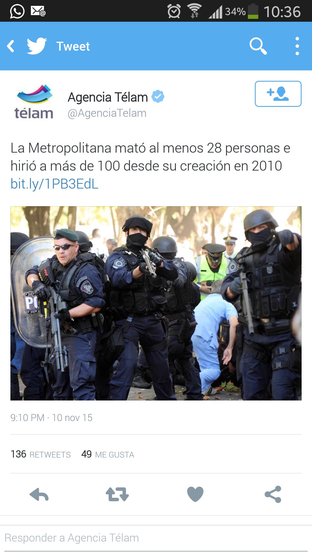 """Télam: """"La Metropolitana mató al menos a 28 personas desde su creación"""""""