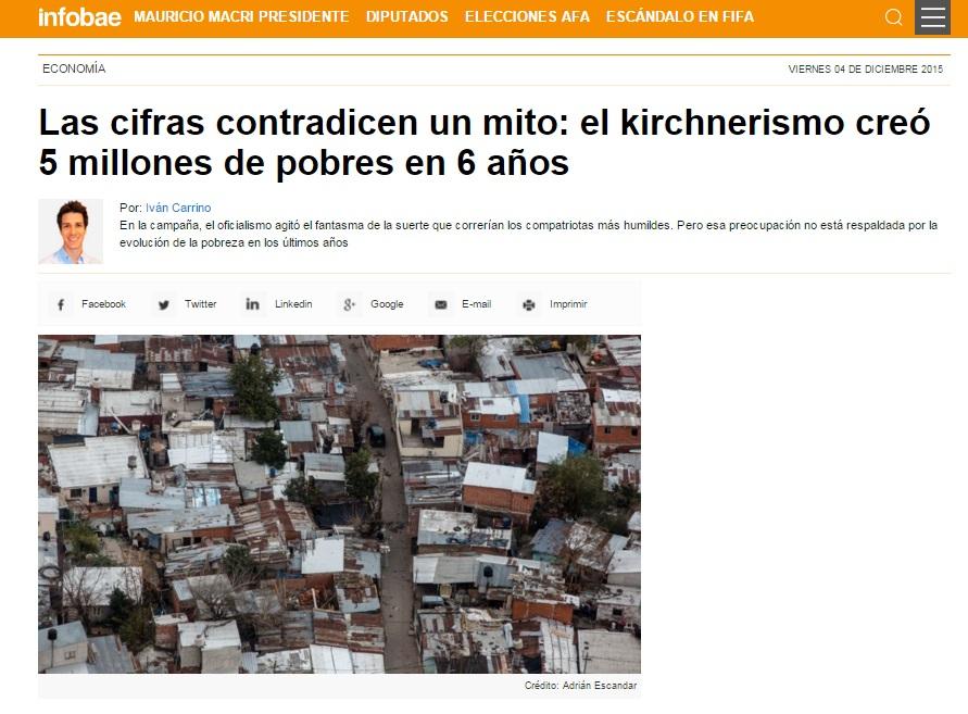"""Infobae: """"El kirchnerismo creó cinco millones de pobres en seis años"""""""