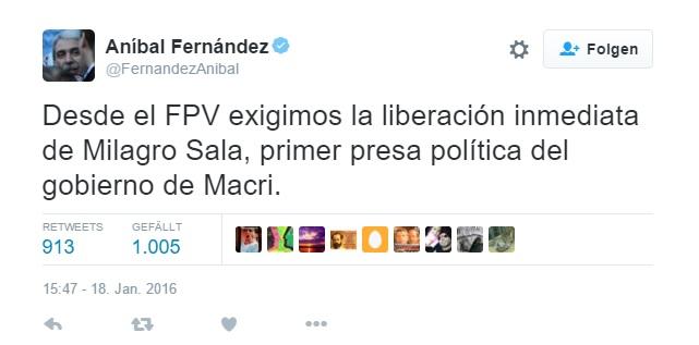 """Anibal Fernandez: """"Milagro Sala, primer presa política del gobierno de Macri""""."""