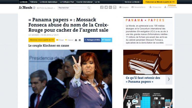 "Le Monde: ""CFK vinculada con Panamá Papers""."
