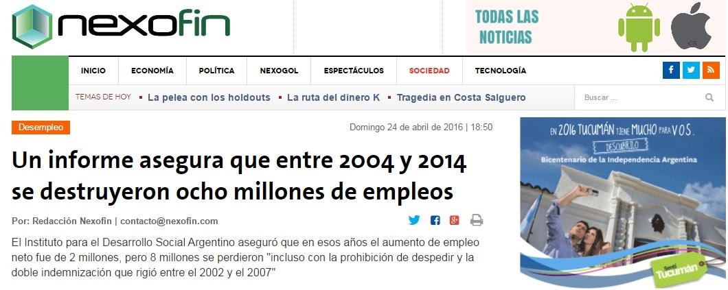 """IDESA: """"Se destruyeron ocho millones de empleos en una década""""."""