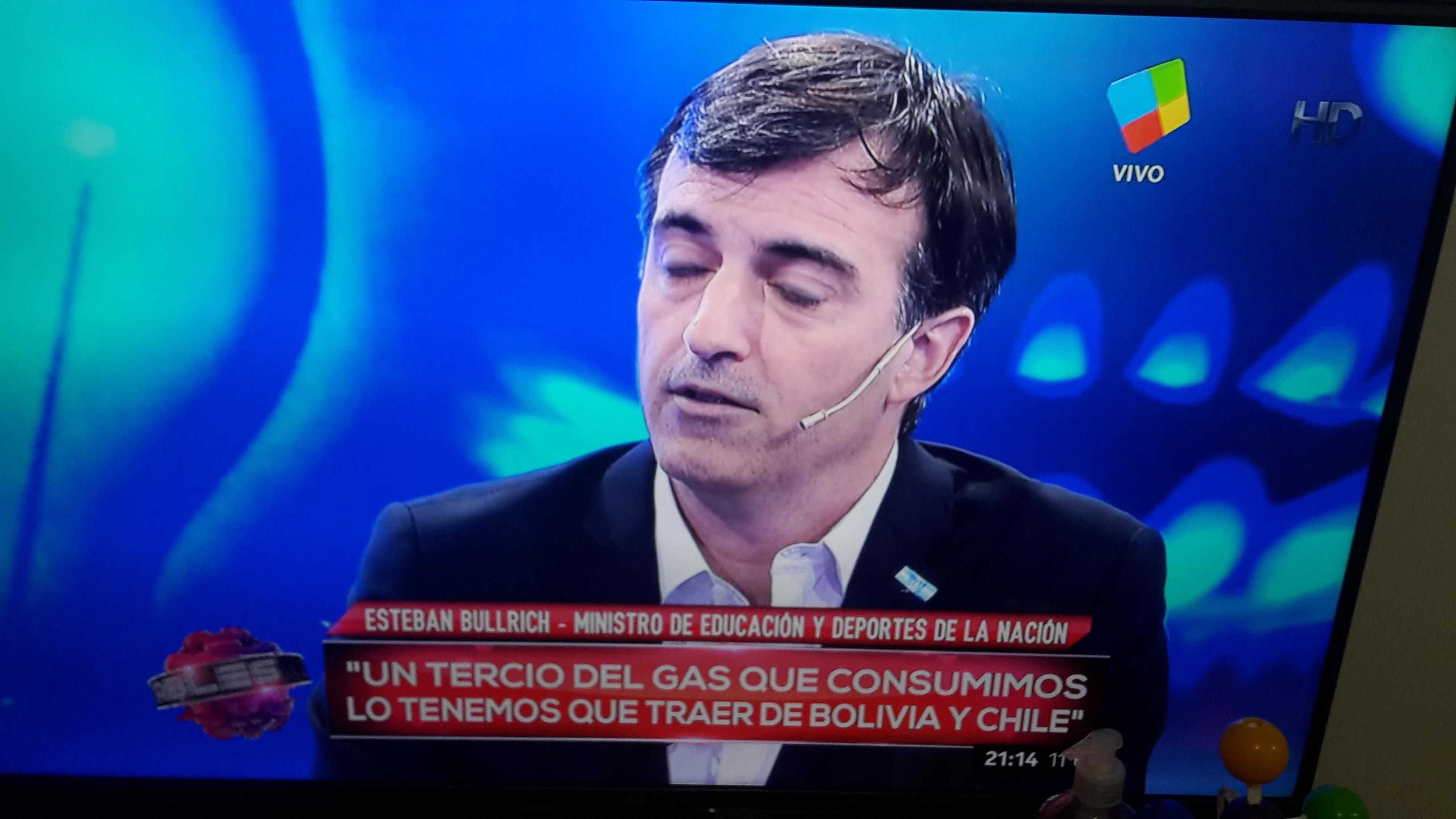 """Bullrich: """"Un tercio del gas que consumimos, lo tenemos que traer de Bolivia y Chile""""."""