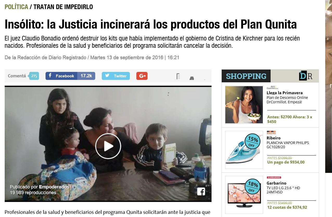 """Diario Registrado: """"Insólito: la Justicia incinerará los productos del Plan Qunita"""""""