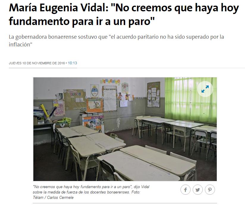 """Vidal: """"El acuerdo paritario [con el gremio docente] no ha sido superado por la inflación"""""""