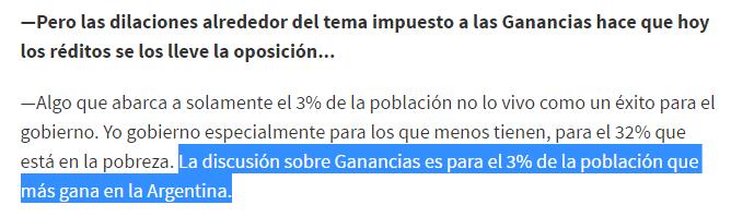 """Macri: """"La discusión sobre Ganancias es para el 3% de la población que más gana en la Argentina"""""""