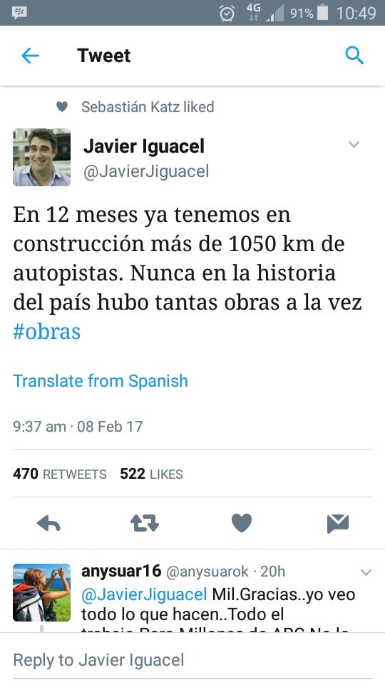 """Iguacel: """"En 12 meses ya tenemos en construcción más de 1050 km de autopistas. Nunca en la historia del país hubo tantas obras a la vez"""""""