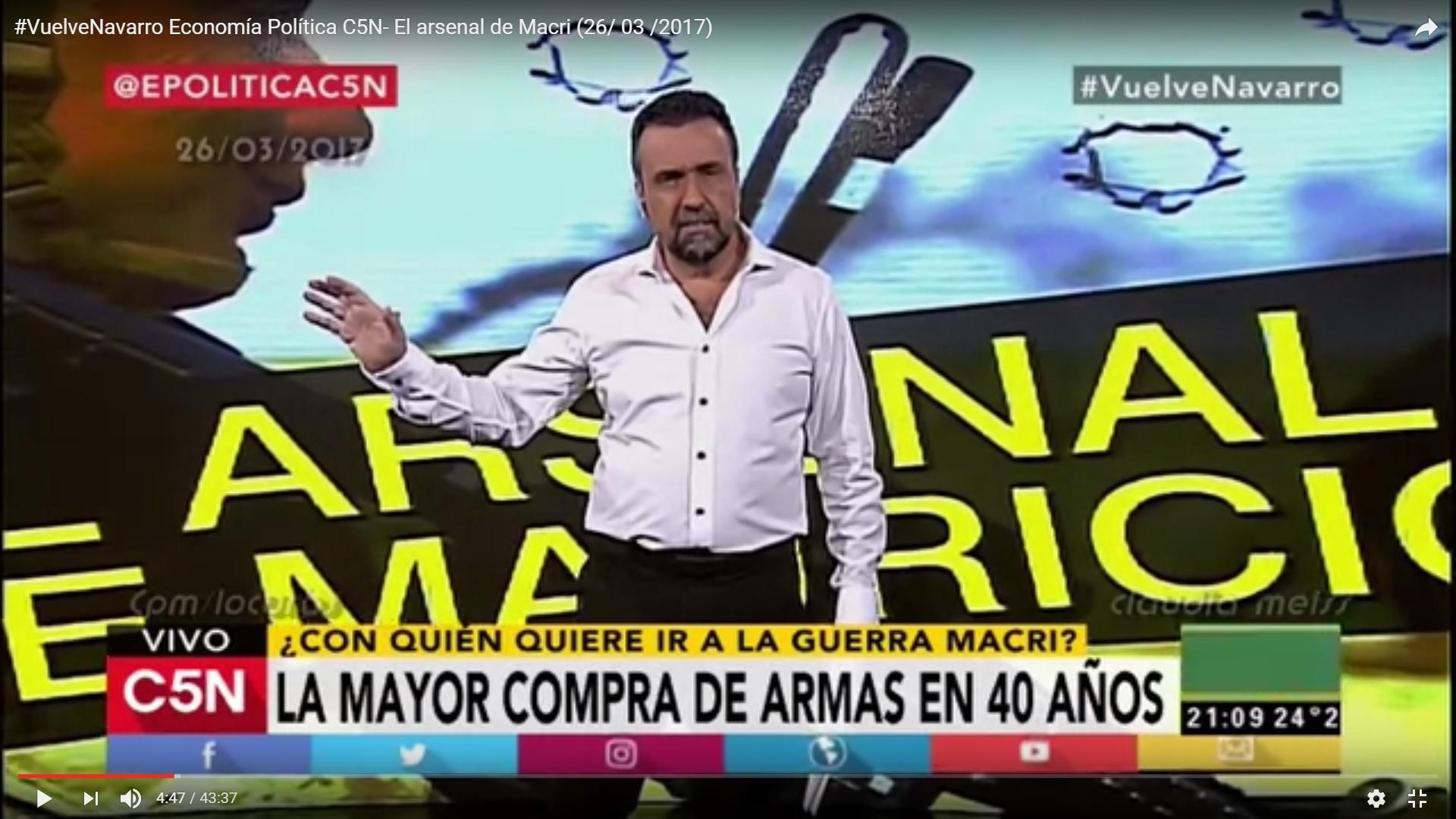 """Navarro: """"La mayor compra de armas en lo últimos 40 años"""""""