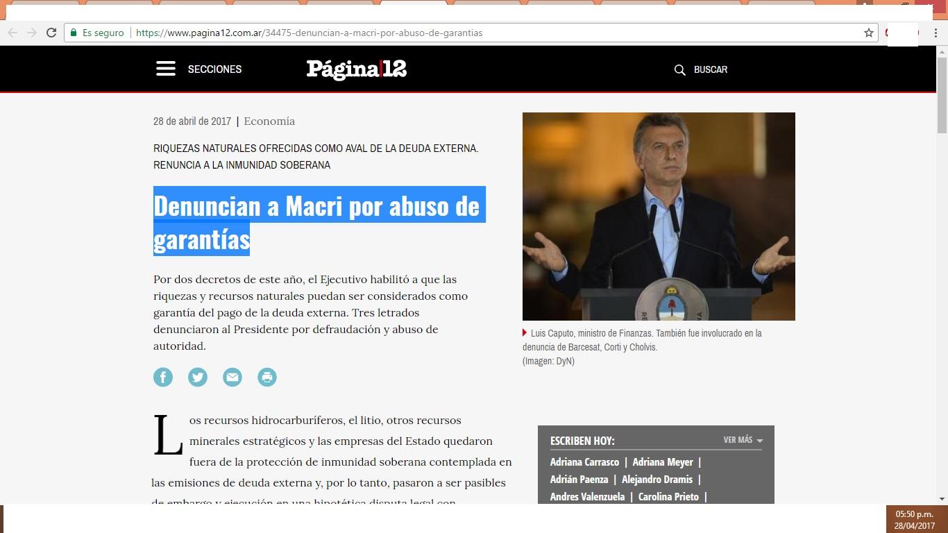 "Página 12: ""Denuncian a Macri por abuso de garantías"""