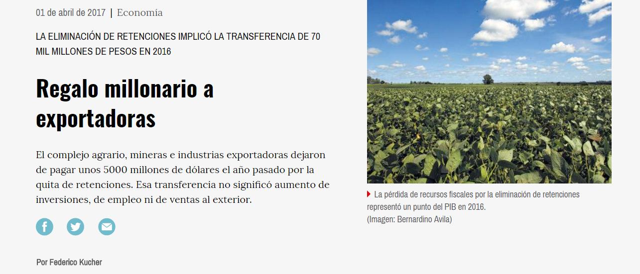 """Página 12: """"Regalo millonario a exportadoras"""""""