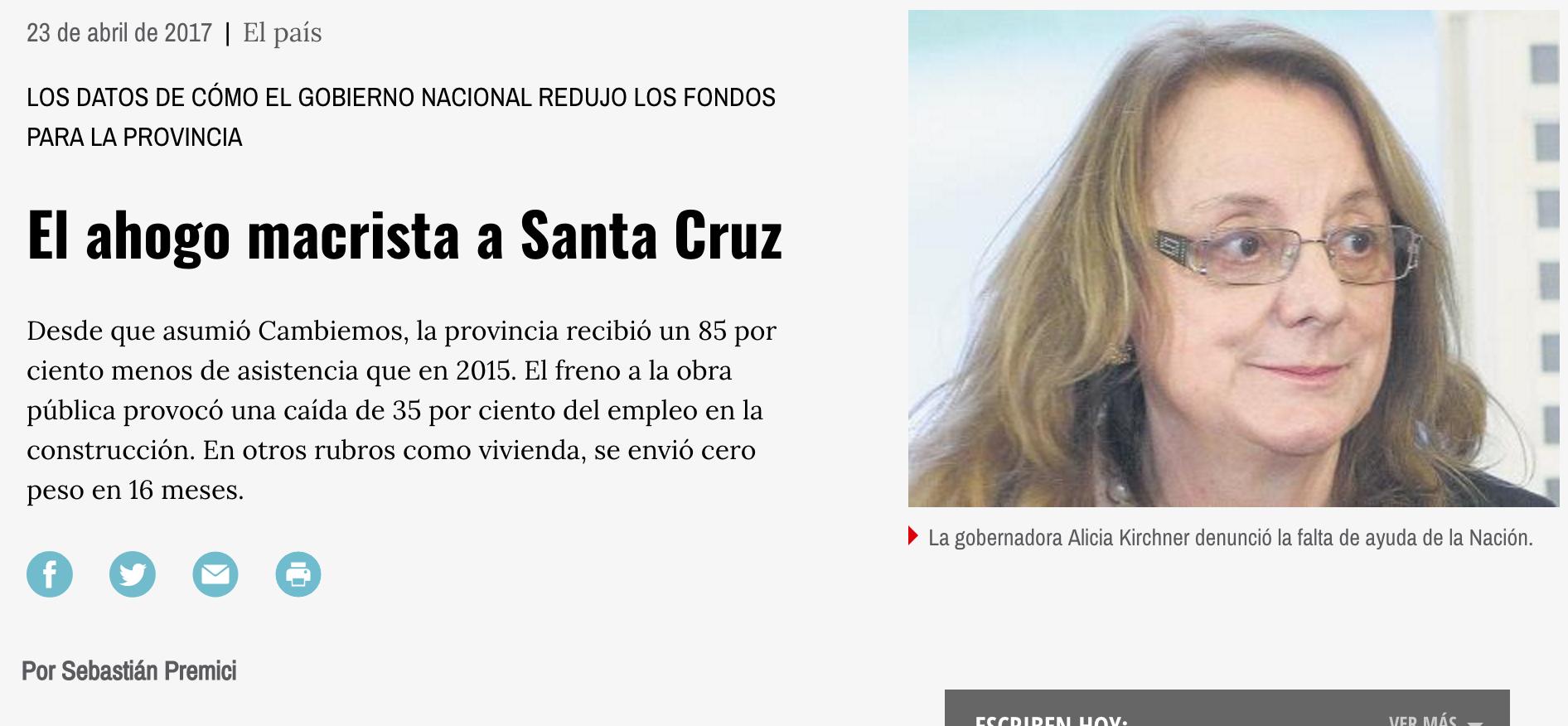 """Página 12: """"Ahogo financiero a Santa Cruz"""""""