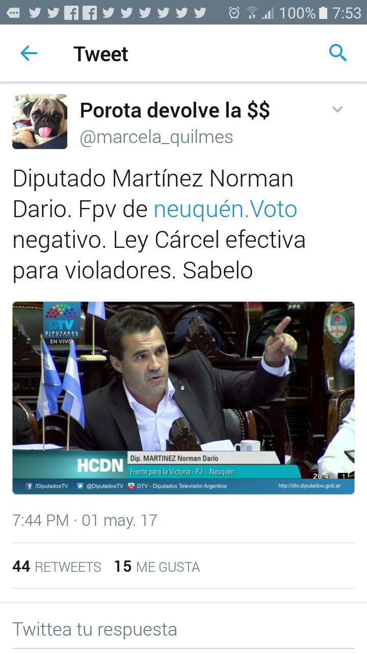"""Twitter: """"El senador Darío Martinez votó negativo ley de cárcel efectiva para violadores"""""""