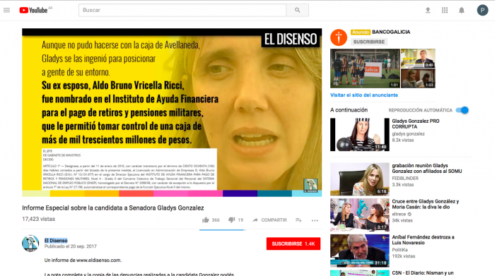 """El Disenso: """"Informe especial sobre la candidata a senadora Gladys Gonzalez de Cambiemos"""""""