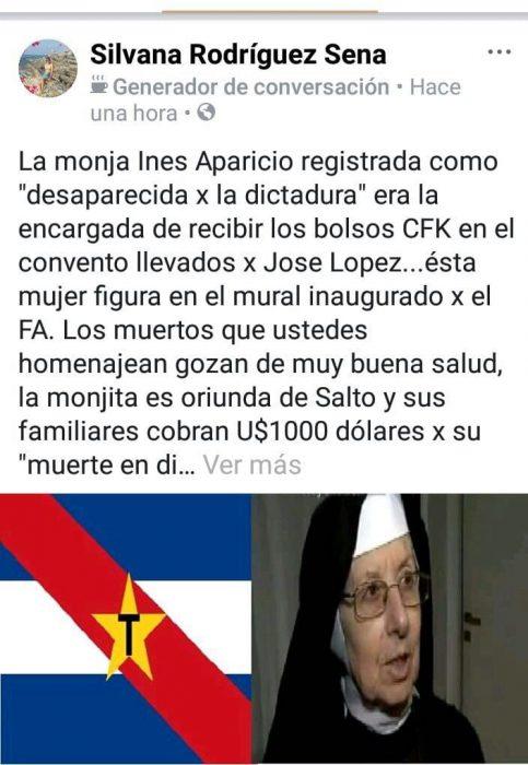 Es falso que la monja que recibió los bolsos de José López aparece como desaparecida por la dictadura uruguaya