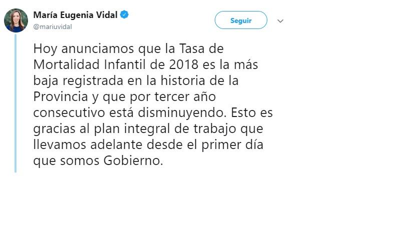 "Maria Eugenia Vidal: ""La tasa de mortalidad infantil de 2018 es la más baja registrada en la historia de la Provincia"""