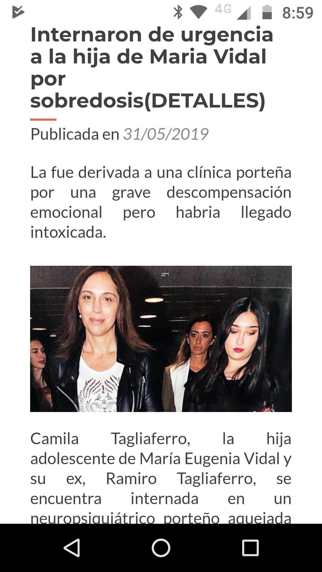No, la hija de Vidal no fue internada de urgencia por sobredosis