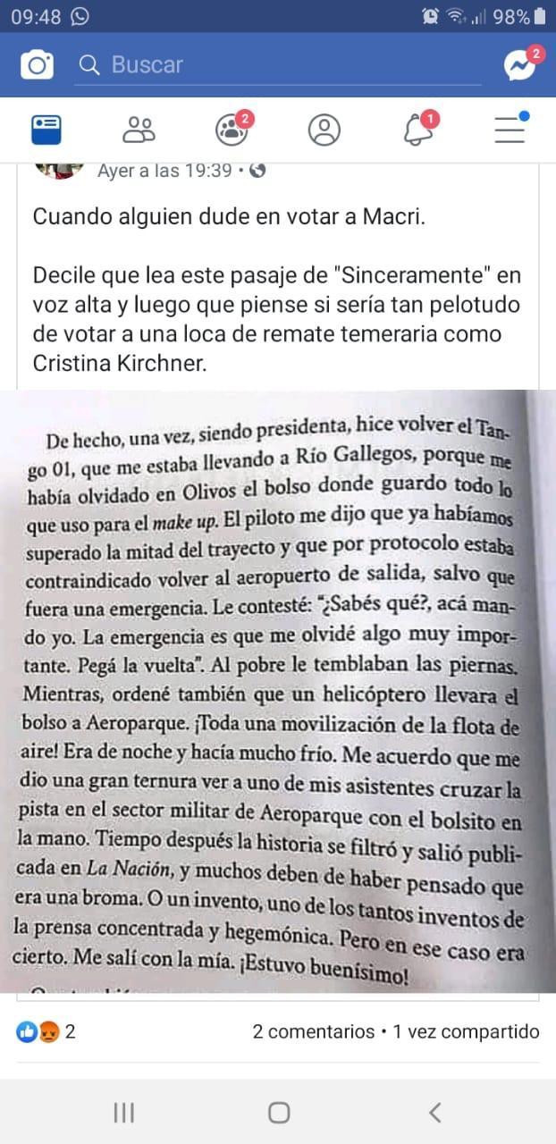 """No, esta página no está en """"Sinceramente"""", el libro de CFK"""