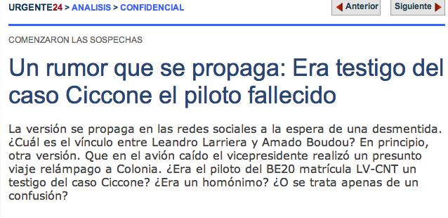 ¿El piloto fallecido en el accidente aéreo era un testigo del caso Ciccone?