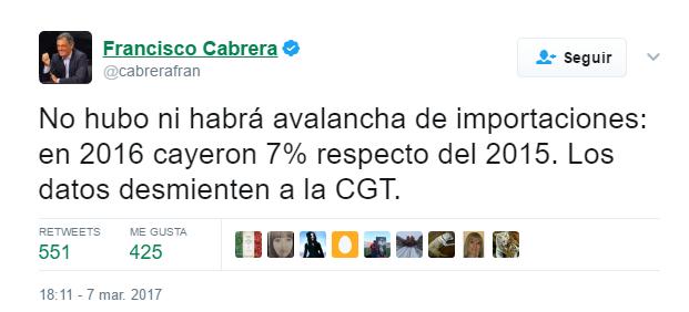 Cabrera tuit