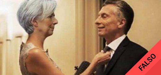 Es #FalsoEnLasRedes la foto donde Lagarde le arregla la corbata a Macri