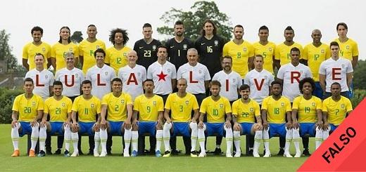 Es #FalsoEnLasRedes la foto de la selección brasileña reclamando por la libertad de Lula