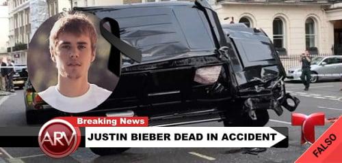 Es falso que Justin Bieber murió en un accidente de autos