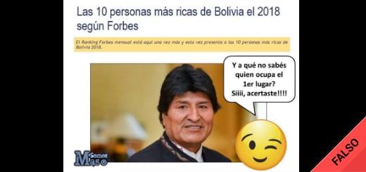 Es falso que Evo Morales está primero en el ranking de la Revista Forbes con las personas más ricas de Bolivia