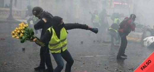 Es falsa la imagen de un manifestante lanzando un ramo de flores durante las protestas en París