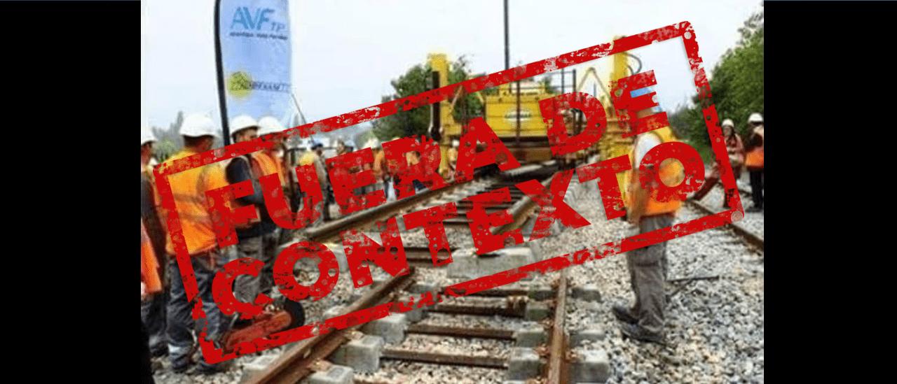 No, la foto de las vías mal construidas no es de la obra del tren San Martín