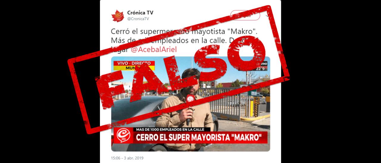 """Crónica TV: """"Cerró el super mayorista Makro. Más de 1000 empleados en la calle"""""""