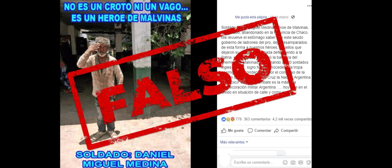 """No, no existe un veterano de Malvinas llamado Daniel Miguel Medina """"abandonado"""" en Chaco"""