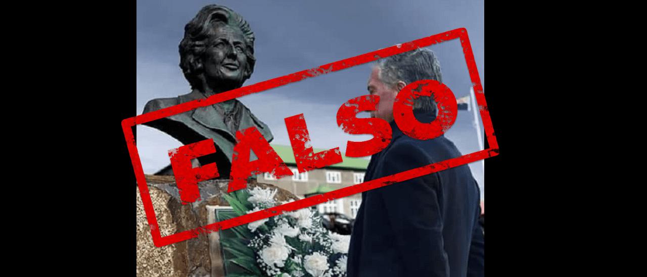 Es falsa la imagen de Macri junto al busto de Thatcher