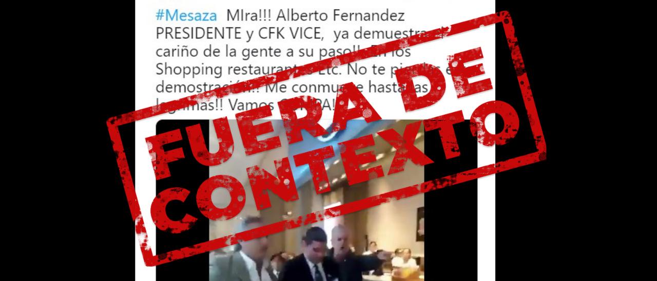 No, el video de Alberto Fernández peleándose en el Patio Bullrich no es de ahora sino de 2016