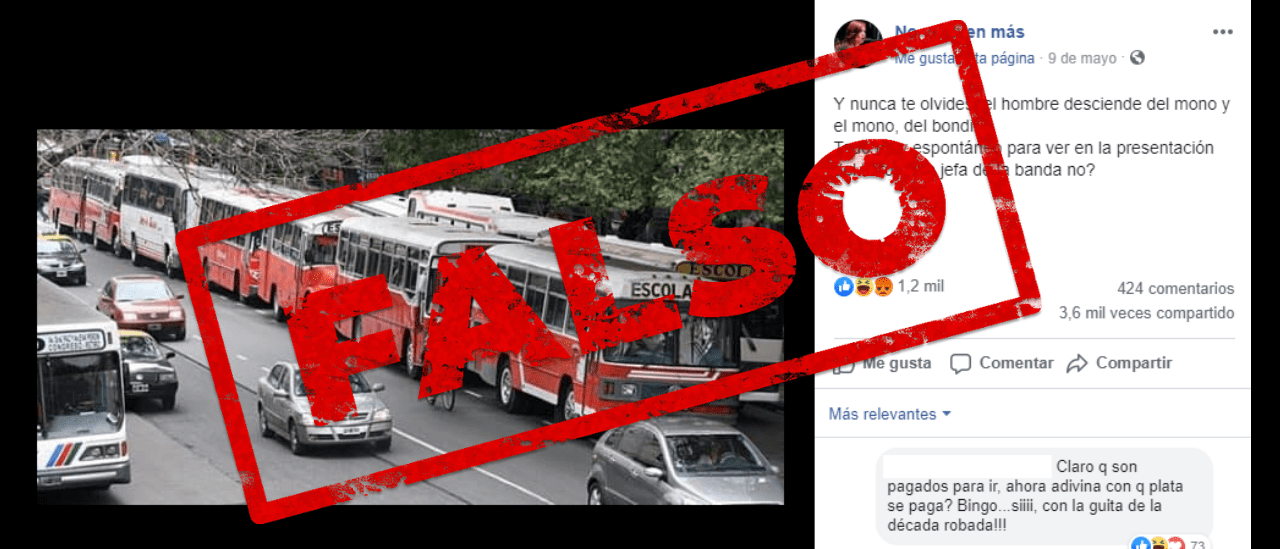 """Es falso que esta foto con los colectivos estacionados es del día de la presentación de """"Sinceramente"""", el libro de CFK"""
