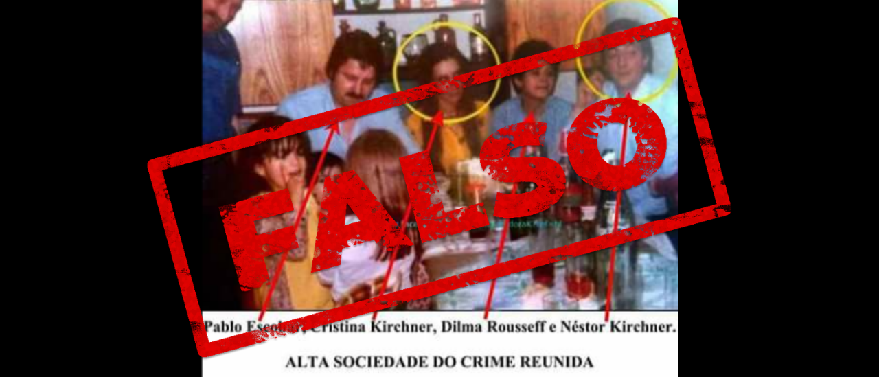 No, en esta foto no están Néstor Kirchner, Cristina Fernández, Dilma Roussef y Pablo Escobar