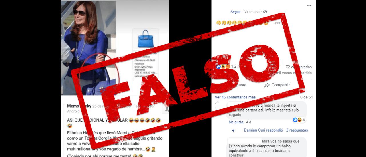 Es falso que CFK viajó a Cuba con una cartera marca Hermès de US$ 17 mil