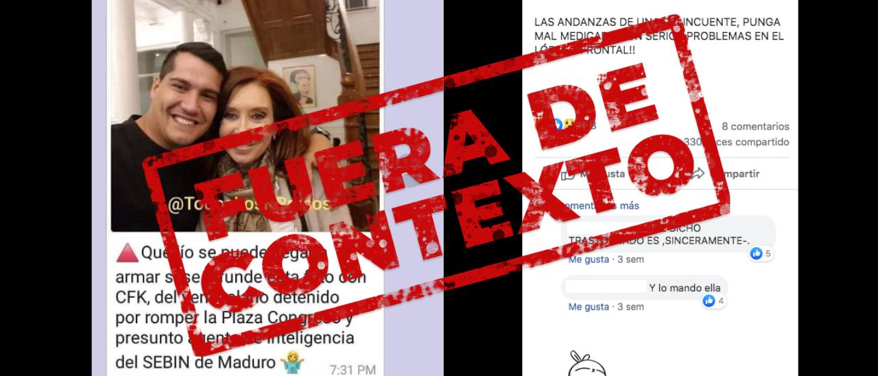 No, la persona al lado de CFK no es un venezolano detenido por romper la Plaza de los Congresos durante una manifestación