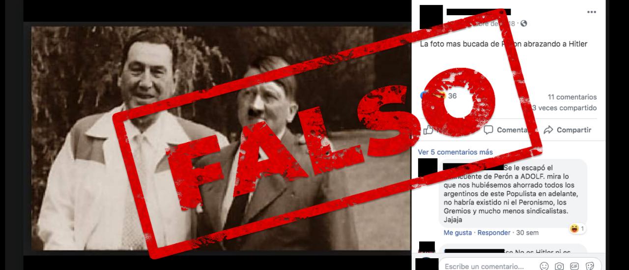 Es falsa la foto de Perón al lado de Hitler