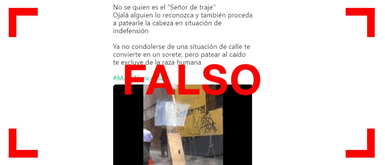 No, el video de un hombre que patea a un indigente no fue filmado en la Argentina sino en Brasil