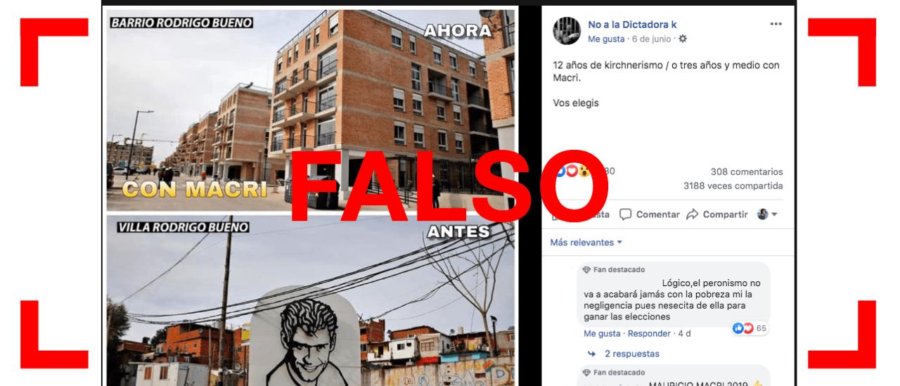 Es falsa la imagen que compara el antes y el ahora del barrio Rodrigo Bueno
