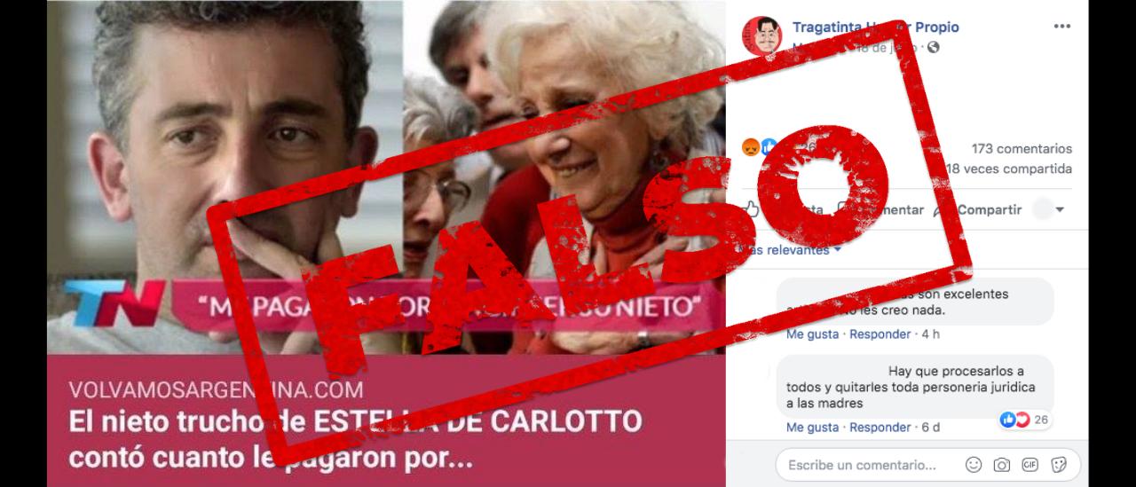 No, Ignacio Montoya no dijo que le pagaron por fingir ser el nieto de Estela de Carlotto