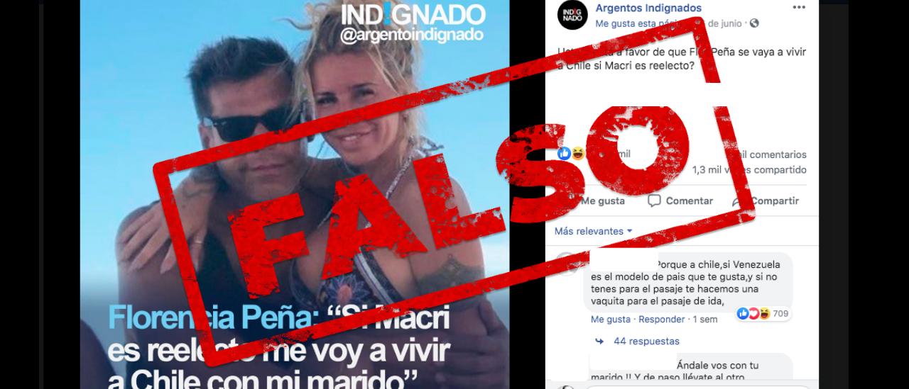 Es falso que Florencia Peña dijo que se va del país si Macri gana las elecciones