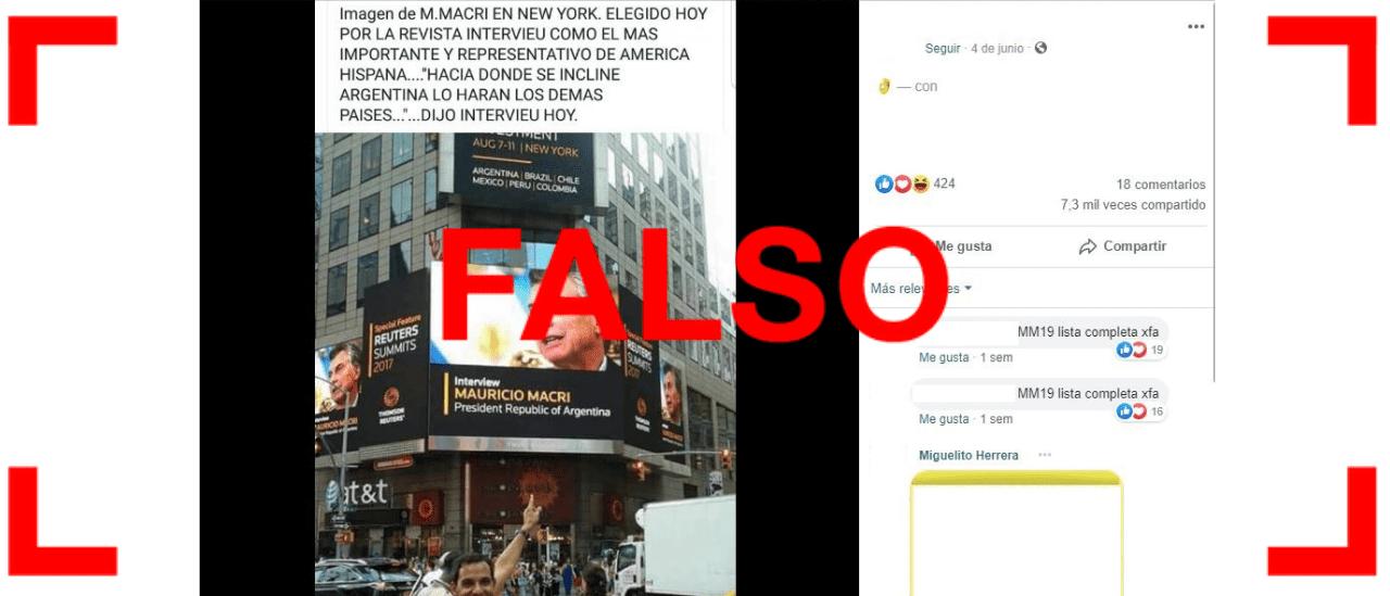 """Es falsa la publicación sobre Macri que afirma que fue elegido la persona más representativa de """"América Hispana"""""""