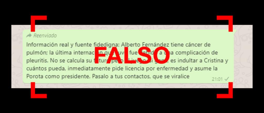 Viral en WhatsApp: es falso que Alberto Fernández fue diagnosticado con cáncer de pulmón