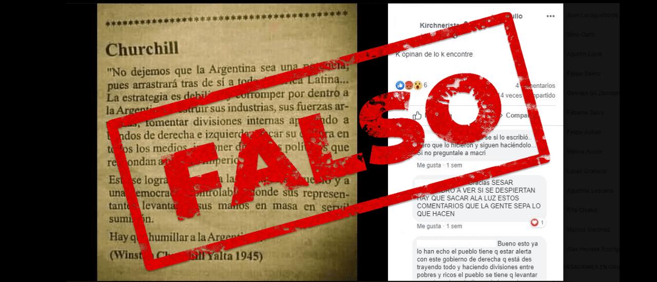 """No, Churchill nunca dijo esto en la conferencia de Yalta: """"No dejen que la Argentina se convierta en potencia, arrastrará tras ella a toda América Latina"""""""