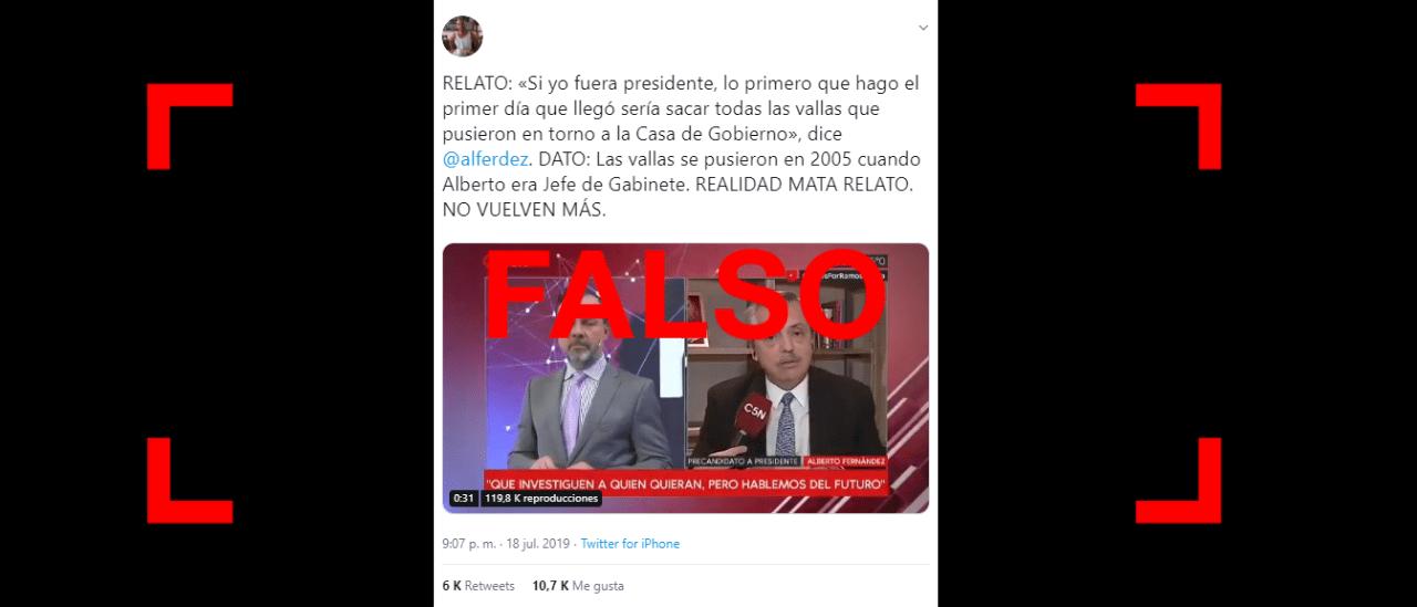 Es falso que las vallas en torno a la Casa Rosada se pusieron en 2005 cuando Alberto Fernández era jefe de Gabinete