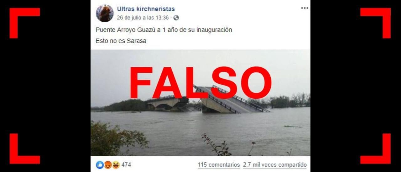 No, este puente en Corrientes no se cayó a un año de su inauguración sino medio siglo después