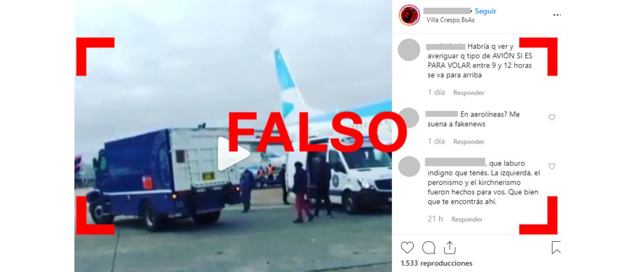 """Es falso el audio que afirma que el Banco Central transportó en un avión de Aerolíneas Argentinas """"8 mil kilos de guita"""" hacia un lugar desconocido"""