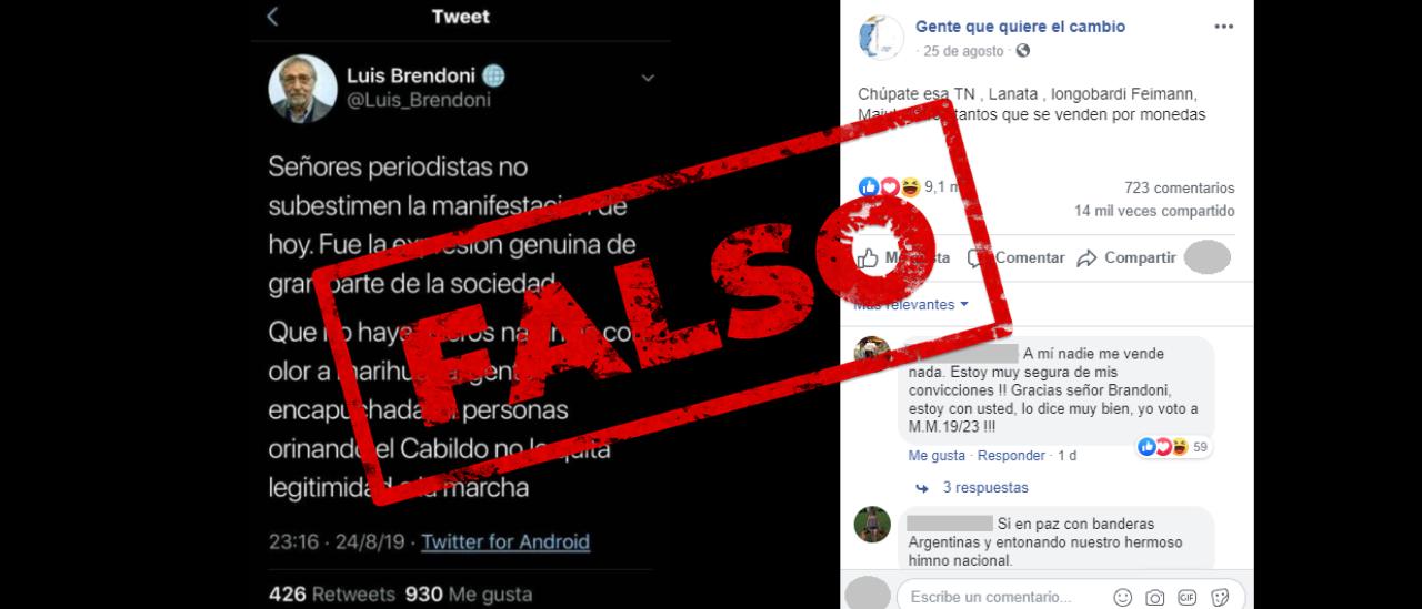 No, Luis Brandoni no publicó un tuit contra los periodistas que cuestionaron la marcha #24A
